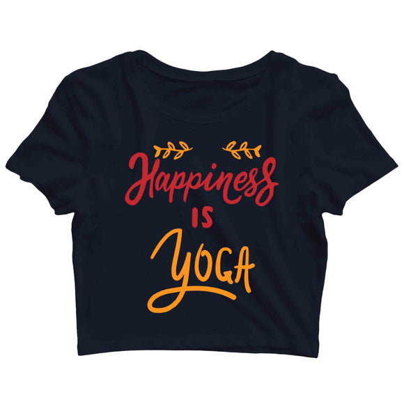 Yoga Fitness Yoga HAPPINESS IS YOGA Custom Printed Graphic Design Crop Top T-Shirt for Women - Aaramkhor
