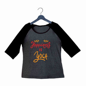 Yoga Fitness Yoga HAPPINESS IS YOGA Custom Printed Graphic Design Raglan T-Shirt for Women - Aaramkhor