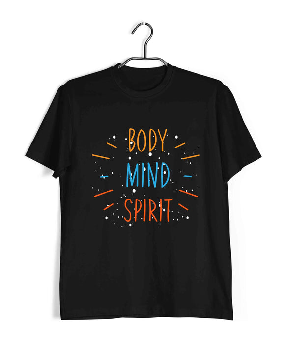 Yoga Fitness Yoga BODY MIND SPIRIT Custom Printed Graphic Design T-Shirt for Men - Aaramkhor