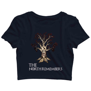 TV Series Games of Thrones (GOT) The North Remembers Custom Printed Graphic Design Crop Top T-Shirt for Women - Aaramkhor