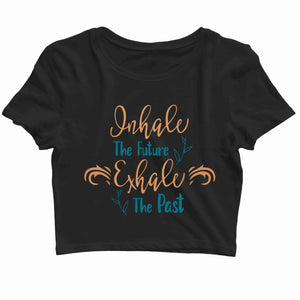 Yoga Fitness Yoga YOGA INHALE EXHALE Custom Printed Graphic Design Crop Top T-Shirt for Women - Aaramkhor