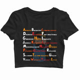 Comics TinTin CAPTAIN HADDOCK - A-Z SwearWords Custom Printed Graphic Design Crop Top T-Shirt for Women - Aaramkhor
