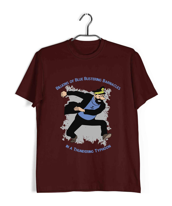 Comics TinTin Captain Haddock - Billions of Blue Blistering Barnacles Custom Printed Graphic Design T-Shirt for Women - Aaramkhor