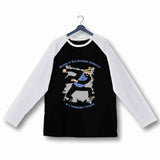 Comics TinTin Captain Haddock - Billions of Blue Blistering Barnacles Custom Printed Graphic Design Raglan T-Shirt for Women - Aaramkhor