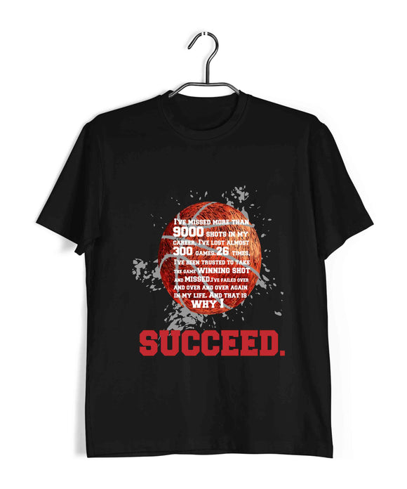 Sports Basketball Michael Jordan - Inspirational Success Quote Custom Printed Graphic Design T-Shirt for Men - Aaramkhor