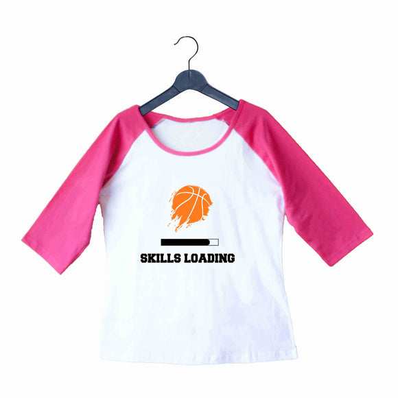 Sports Basketball BasketBall Skills Loading Custom Printed Graphic Design Raglan T-Shirt for Women - Aaramkhor