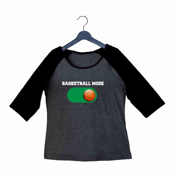 Sports Basketball Basketball Mode ON Custom Printed Graphic Design Raglan T-Shirt for Women - Aaramkhor