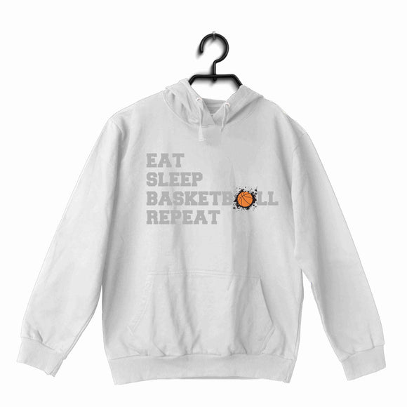White Basketball Sports Basketball Eat Sleep Basketball Repeat UNISEX HOODIE Sweatshirts