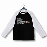 Sports Basketball Eat Sleep Basketball Repeat Custom Printed Graphic Design Raglan T-Shirt for Women - Aaramkhor
