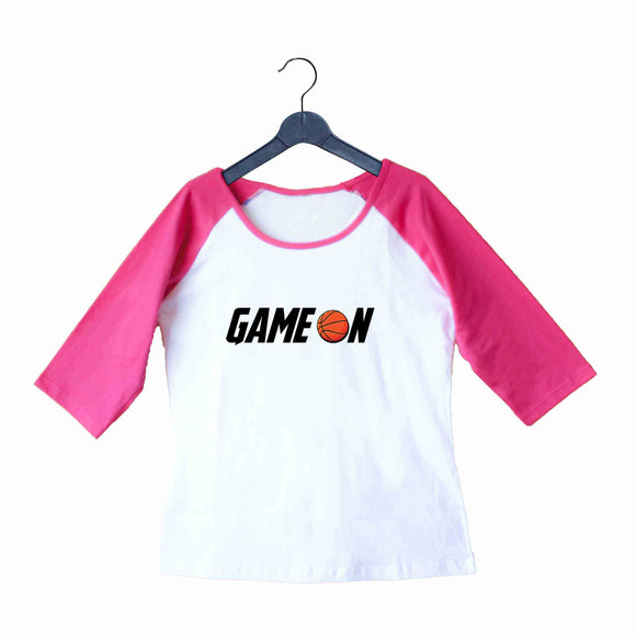 Sports Basketball GAME ON Custom Printed Graphic Design Raglan T-Shirt for Women - Aaramkhor