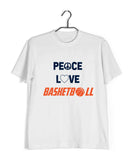 Sports Basketball Peace Love Basketball Custom Printed Graphic Design T-Shirt for Women - Aaramkhor