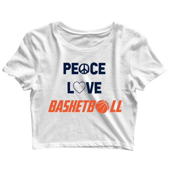 Sports Basketball Peace Love Basketball Custom Printed Graphic Design Crop Top T-Shirt for Women - Aaramkhor