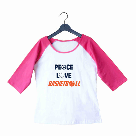 Sports Basketball Peace Love Basketball Custom Printed Graphic Design Raglan T-Shirt for Women - Aaramkhor