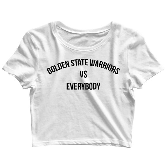 Sports Basketball GOLDEN STATE WARRIORS VS EVERYBODY Custom Printed Graphic Design Crop Top T-Shirt for Women - Aaramkhor