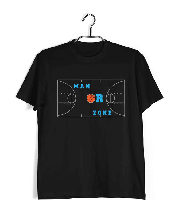 Sports Basketball MAN OR ZONE? Custom Printed Graphic Design T-Shirt for Women - Aaramkhor