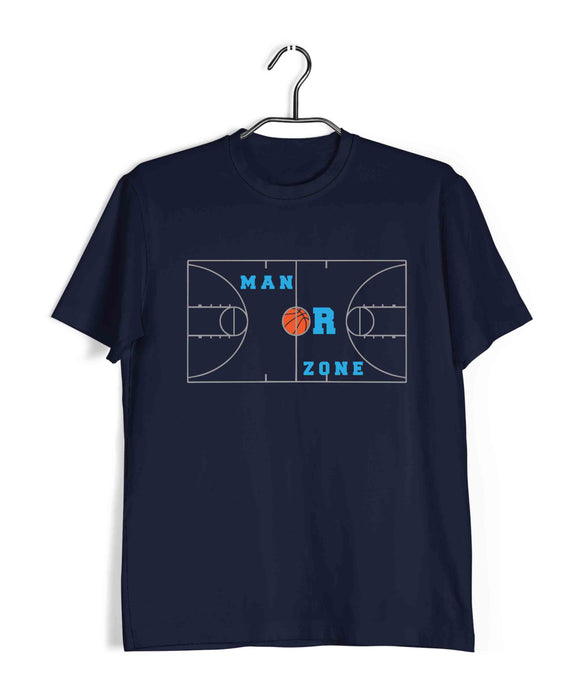 Sports Basketball MAN OR ZONE? Custom Printed Graphic Design T-Shirt for Men - Aaramkhor