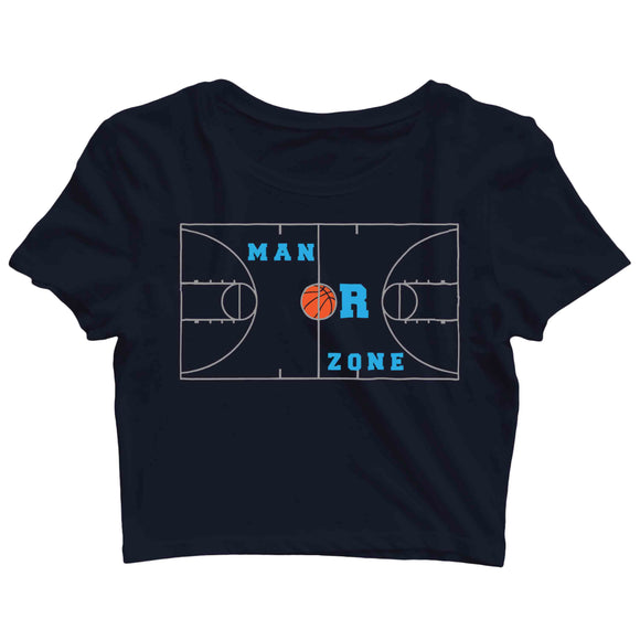 Sports Basketball MAN OR ZONE? Custom Printed Graphic Design Crop Top T-Shirt for Women - Aaramkhor