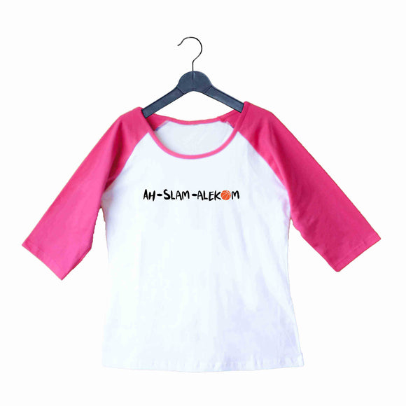 Sports Basketball AHSLAM ALLEHKUM Custom Printed Graphic Design Raglan T-Shirt for Women - Aaramkhor