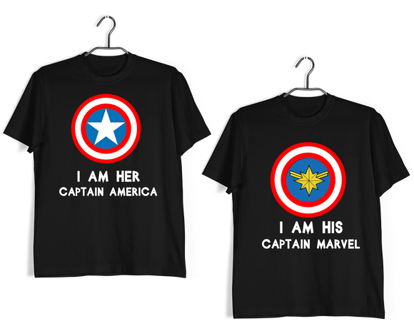Matching Anniversary Gifts Relationships Matching Couples CAPTAIN MARVEL CAPTAIN AMERICA T-Shirts for Boyfriend Girlfriend Fiance Husband Wife Mother Father Family - Aaramkhor