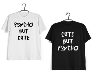 Matching Anniversary Gifts Relationships Matching Couples Cute But Psycho T-Shirts for Boyfriend Girlfriend Fiance Husband Wife Mother Father Family - Aaramkhor