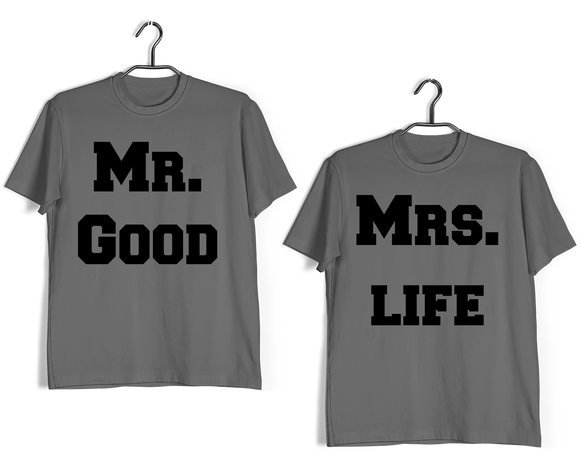 Engagement Anniversary Gifts Relationships Matching Couples MR MRS GOOD LIFE T-Shirts for Boyfriend Girlfriend Fiance Husband Wife Mother Father Family - Aaramkhor