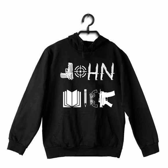 Black John Wick MOVIES Hollywood JOHN WICK WEAPON ART UNISEX HOODIE Sweatshirts