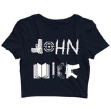 John Wick MOVIES Hollywood JOHN WICK WEAPON ART Custom Printed Graphic Design Crop Top T-Shirt for Women - Aaramkhor