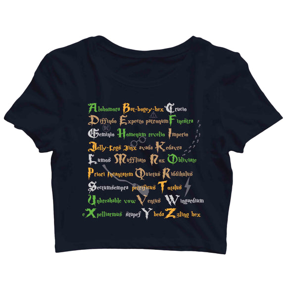 Books HARRY POTTER A-Z SPELLS Custom Printed Graphic Design Crop Top T-Shirt for Women - Aaramkhor