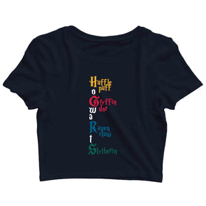 Books HARRY POTTER 4 HOUSES Custom Printed Graphic Design Crop Top T-Shirt for Women - Aaramkhor