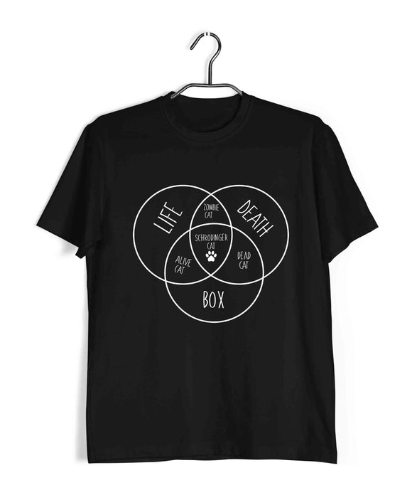 Nerd PHYSICS SCHRODINGER'S CAT VENN DIAGRAM Custom Printed Graphic Design T-Shirt for Men - Aaramkhor