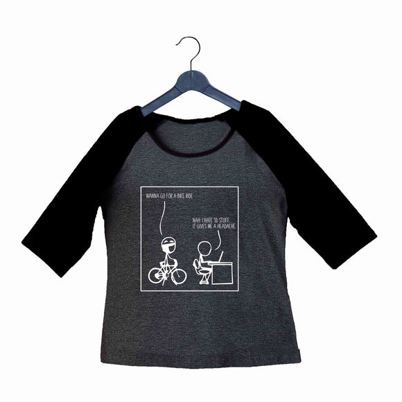Coding Nerd Engineering 3D GIVES ME HEADACHE Custom Printed Graphic Design Raglan T-Shirt for Women - Aaramkhor
