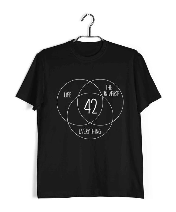 Nerd HITCHHIKERS GUIDE 42 MEANING OF LIFE Custom Printed Graphic Design T-Shirt for Men - Aaramkhor