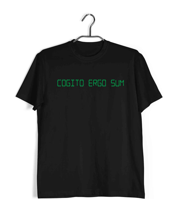 Coding Nerd Engineering I THINK THEREFORE I AM COGITO ERGO SUM Custom Printed Graphic Design T-Shirt for Men - Aaramkhor