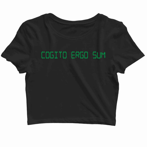 Coding Nerd Engineering I THINK THEREFORE I AM COGITO ERGO SUM Custom Printed Graphic Design Crop Top T-Shirt for Women - Aaramkhor