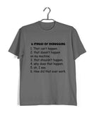 Coding Nerd Engineering STAGES OF DEBUGGING Custom Printed Graphic Design T-Shirt for Men - Aaramkhor