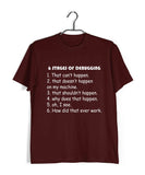 Coding Nerd Engineering STAGES OF DEBUGGING Custom Printed Graphic Design T-Shirt for Women - Aaramkhor