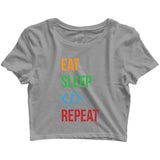 Coding Nerd Engineering EAT SLEEP CODE REPEAT Custom Printed Graphic Design Crop Top T-Shirt for Women - Aaramkhor