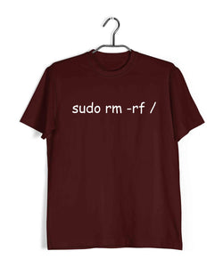 Coding Nerd Engineering SUDO DELETE Custom Printed Graphic Design T-Shirt for Men - Aaramkhor