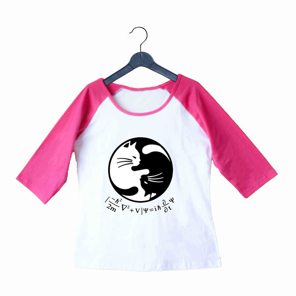Nerd SCHRODINGERS EQUATION YIN YANG Custom Printed Graphic Design Raglan T-Shirt for Women - Aaramkhor