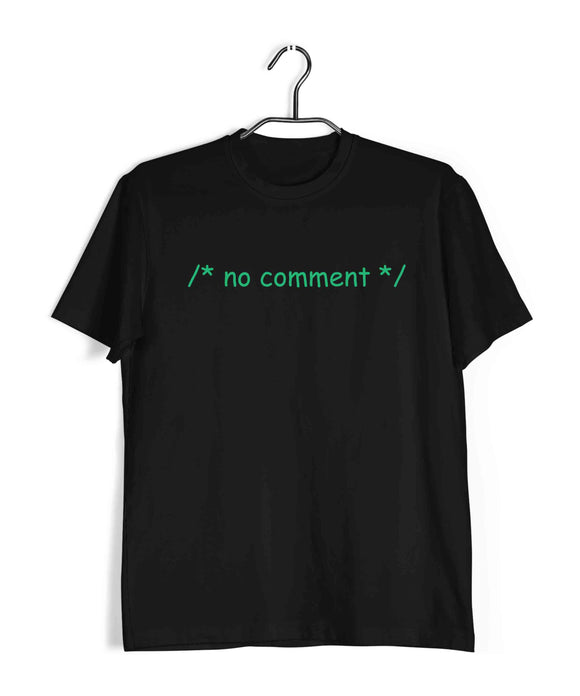 Coding Nerd Engineering COMMENT NO COMMENT Custom Printed Graphic Design T-Shirt for Men - Aaramkhor