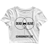 Coding Nerd Engineering SCHRODINGERS CAT VENN DIAGRAM Custom Printed Graphic Design Crop Top T-Shirt for Women - Aaramkhor