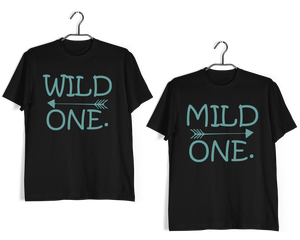 Matching Anniversary Gifts Relationships Matching Couples WILD ONE MILD ONE T-Shirts for Boyfriend Girlfriend Fiance Husband Wife Mother Father Family - Aaramkhor