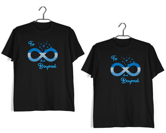Matching Anniversary Gifts Relationships Matching Couples TO INFINITY AND BEYOND T-Shirts for Boyfriend Girlfriend Fiance Husband Wife Mother Father Family - Aaramkhor