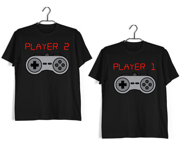 Matching Anniversary Gifts Relationships Matching Couples PLAYER 1 PLAYER 2 T-Shirts for Boyfriend Girlfriend Fiance Husband Wife Mother Father Family - Aaramkhor