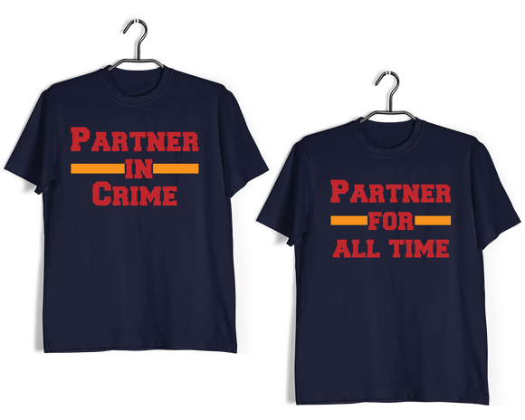 Matching Anniversary Gifts Relationships Matching Couples PARTNER IN CRIME T-Shirts for Boyfriend Girlfriend Fiance Husband Wife Mother Father Family - Aaramkhor