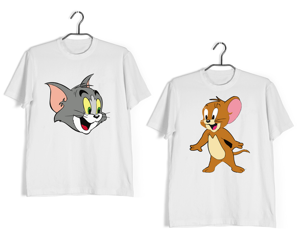 Cartoon Anniversary Gifts Relationships Matching Couples TOM AND JERRY T-Shirts for Boyfriend Girlfriend Fiance Husband Wife Mother Father Family - Aaramkhor
