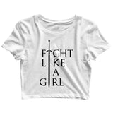 Feminista Feminism Fight like a girl Custom Printed Graphic Design Crop Top T-Shirt for Women - Aaramkhor