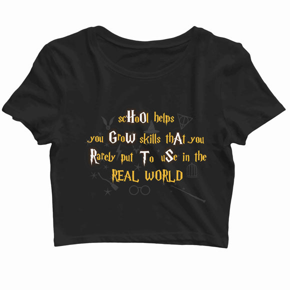 Books Harry Potter Hogwarts the Imaginary School Custom Printed Graphic Design Crop Top T-Shirt for Women - Aaramkhor