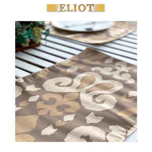 Sutra - Pack of 4 Beautiful Jacquard Ikat One-Side Placemats - Color: Beach