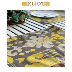 Sutra - Pack of 4 Beautiful Jacquard Ikat One-Side Placemats - Color: Sunny